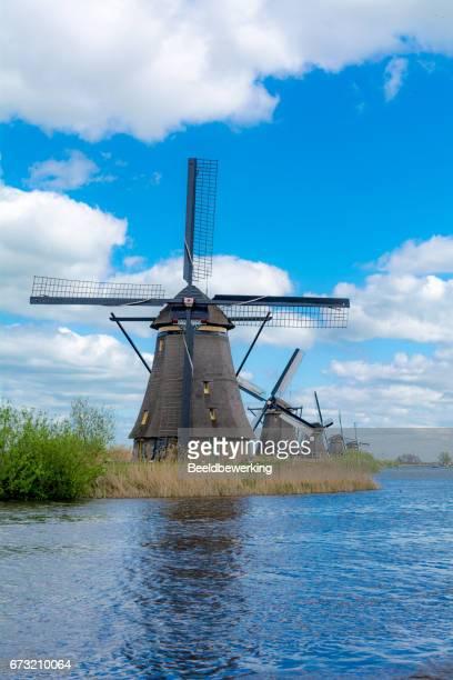 Windmills in a row in Kinderdijk Holland