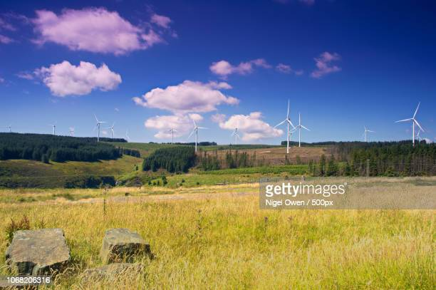 windmills in countryside setting - nigel owen stock pictures, royalty-free photos & images