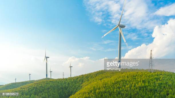 windmills in dongchuan - windmills stock photos and pictures