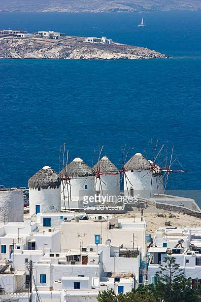 windmills in mykonos - old windmill stock photos and pictures