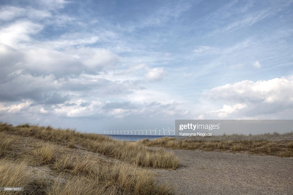 Windmills in the Baltic sea, Copenhagen, Denmark : Stock Photo