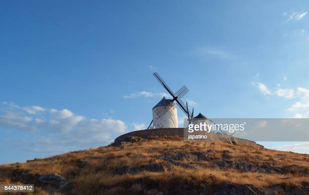 windmills in the town of consuegra in the province of toledo - トレド ストックフォトと画像