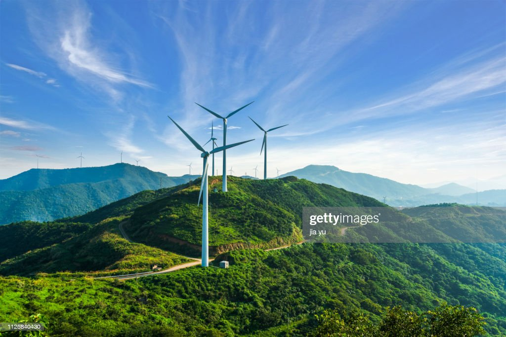 windmills in zhoushan : Stock Photo