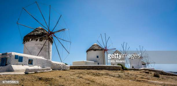 windmills, mykonos, greece - durability stock photos and pictures