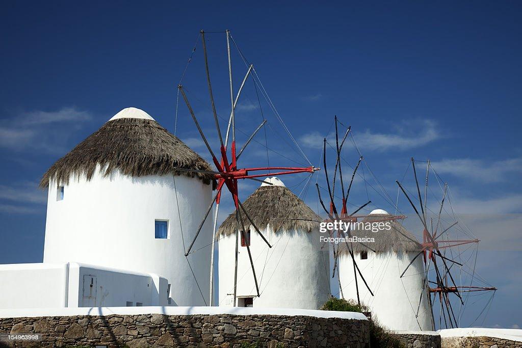 Windmills, Mykonos town, Greece : Stock Photo