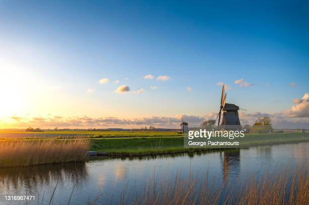 windmills next to the canal at sunset - north holland stock pictures, royalty-free photos & images