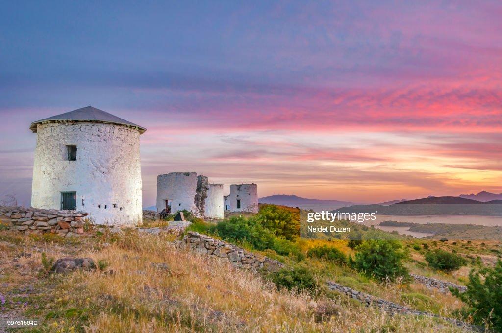 Windmills Of Bodrum Stock Photo