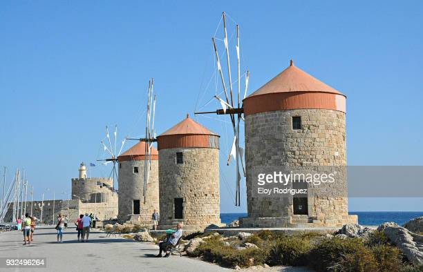 windmills of rhodes - greece - rhodes dodecanese islands stock photos and pictures