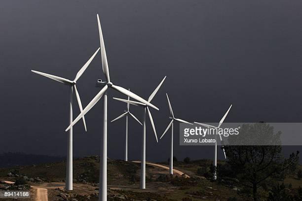 Windmills of the eolic park of Arbo Pontevedra