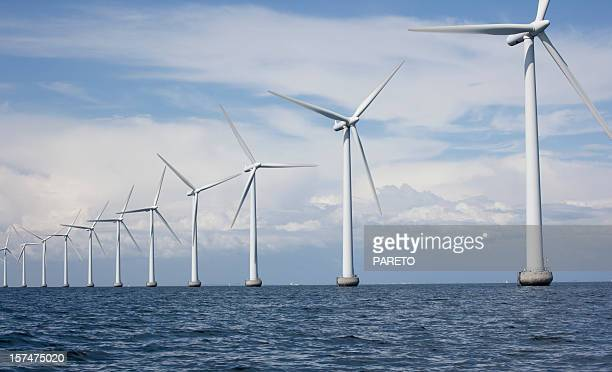 windmills off shore - denmark stock pictures, royalty-free photos & images
