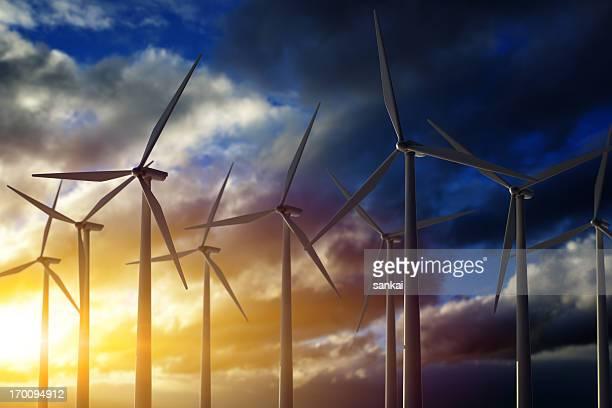 Windmills on sunset.