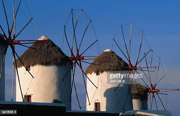 Windmills on the island of Mykonons,Mykonos Island,Southern Aegean,Greece,Europe