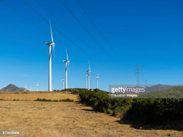 Windmills producing electrical energy near Casares Malaga Province Andalusia southern Spain