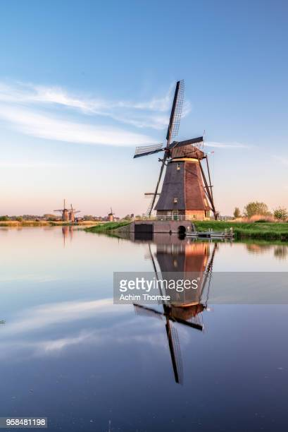 Windmills, Sunrise at Kinderdijk, Netherlands, Europe