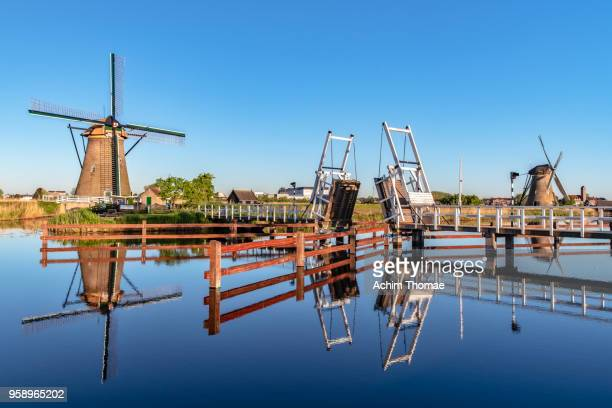 Windmills, Sunrise at Kinderdijk, Netherlands, Europe