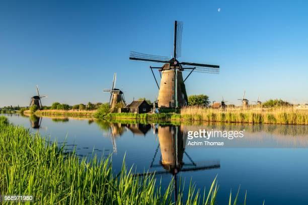 windmills, sunrise at kinderdijk, netherlands, europe - キンデルダイク ストックフォトと画像