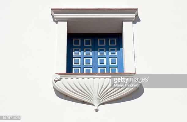 Window and balcony of the Ayuntamiento, Town Hall, Parque Cespedes, Santiago de Cuba, Cuba