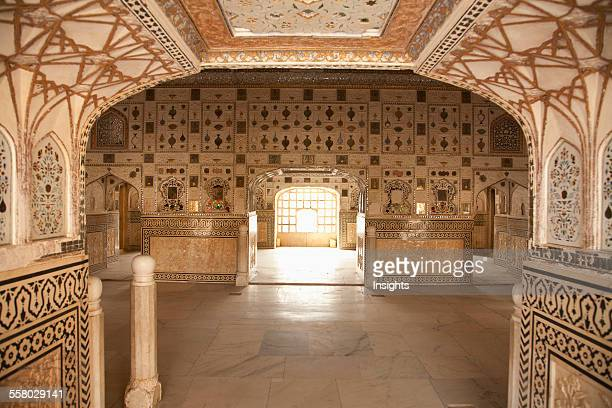 Window And Detail Of Pietra Dura Work At The Shish Mahal Amber Palace Rajasthan India