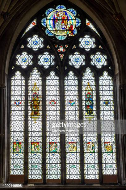 Window at Bristol Cathedral where dedications to Edward Colston have been covered up on June 16, 2020 in Bristol, England. A statue of slave trader...