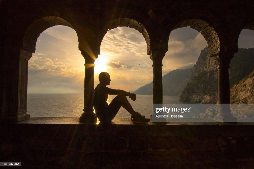 window at sunset, Portovenere, Liguria : Stock Photo
