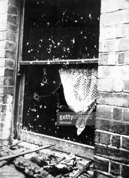 WIndow at the back of 100 Sidney Street Stepney broken by police shots during the siege and gun battle between members of the Gardstein gang and the...