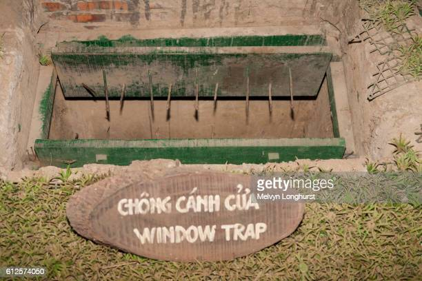 a window booby trap at ben dinh, cu chi, near ho chi minh city, (saigon), vietnam - booby trap stock pictures, royalty-free photos & images