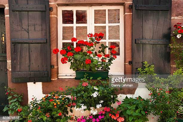 window box with flowers in st.-jean-pied-de-port - saint jean pied de port stock photos and pictures