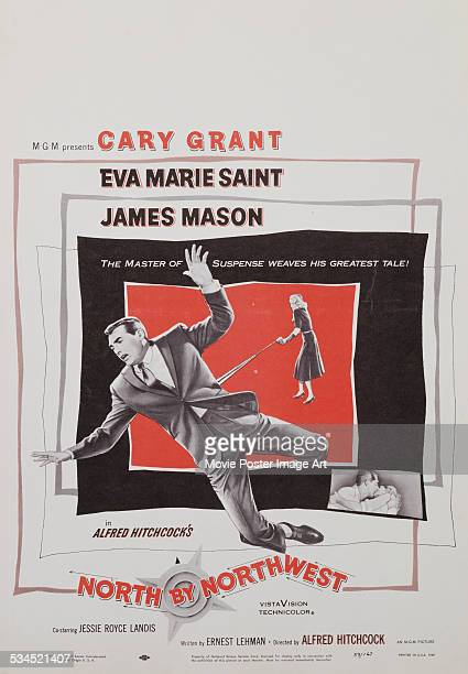 A US window card for Alfred Hitchcock's 1959 thriller 'North By Northwest' starring Cary Grant and Eva Marie Saint