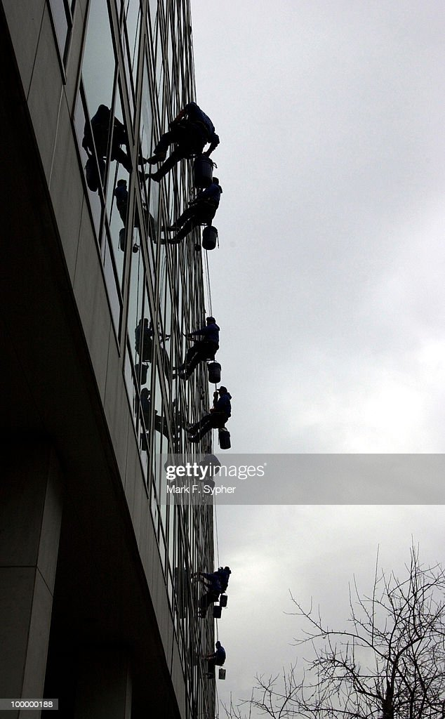 Window cleaners at CSPAN's building on North Capitol Street on Wednesday.