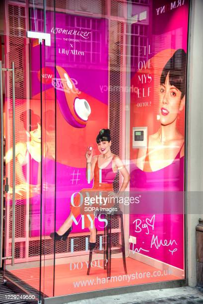 """Window display advertisement at the Harmony Sex Shop in London's Oxford Street for Pop star Lily Allen's Liberty"""" sex toy collaboration with..."""