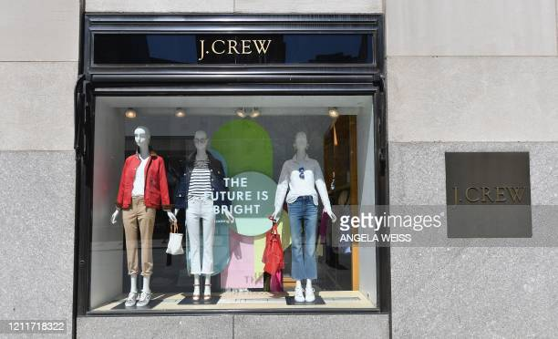 A window display and sign is seen at a closed JCrew store near Rockefeller Plaza on May 4 2020 in New York City US clothing retailer J Crew filed to...