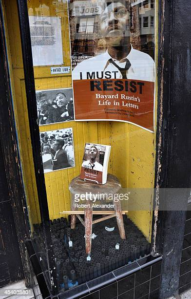 A window display at City Lights Bookstore in San Francisco's North Beach community promotes s a book by civil rights activitst Bayard Rustin The...