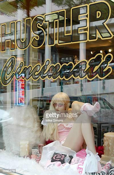 Window display at Hustler Cincinnati is shown June 19, 2003 in Cincinnati, Ohio. The Hamilton County Sheriff's office raided the store June 17,...
