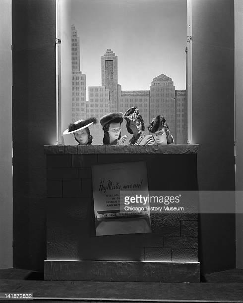 Window Display at Marshall Field & Company with a military theme, French Room hats, Chicago, Illinois, October 6, 1943.