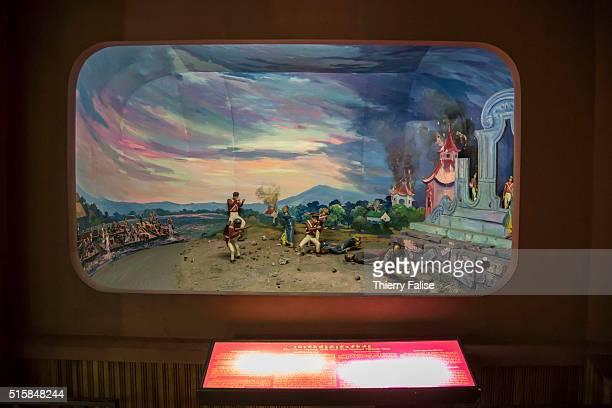 A window display at the Drug Elimination Museum in Yangon shows a reconstitution in three dimensions of the First opium war that took place in the...