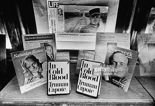 A window display at the Random House building for 'In Cold Blood' the book written by American novelist short story writer and playwright Truman...