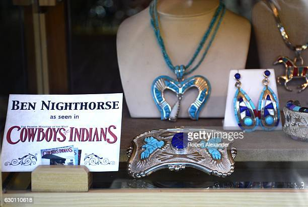 A window display at the Sorrel Sky Gallery in Durango Colorado features a selection of jewelry by Ben Nighthorse Campbell a jewelry artist and former...