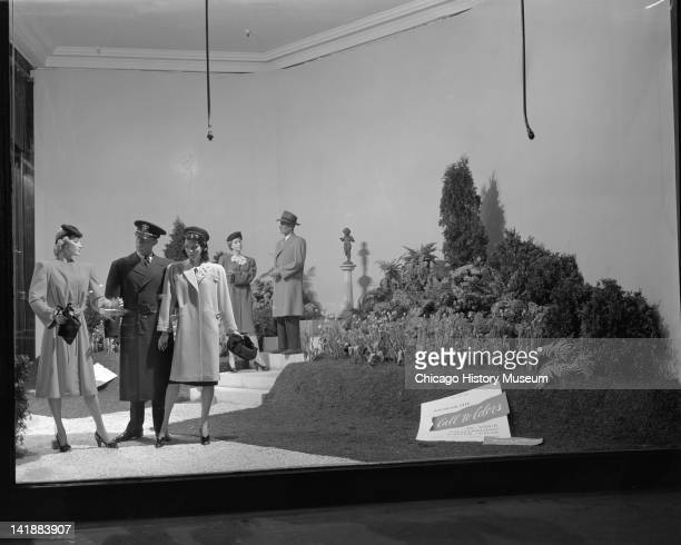 Window Display for Easter Parade Clothing at Marshall Field Company Coat shop Chicago Illinois April 14 1944