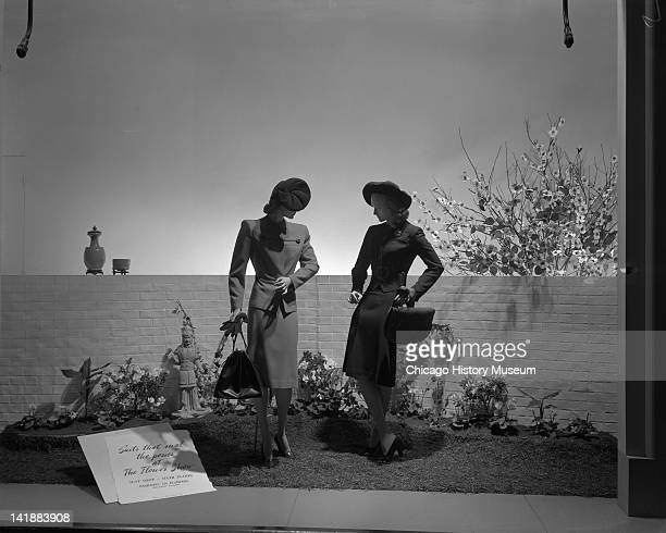 Window Display for Easter Parade Clothing at Marshall Field Company Suit shop Chicago Illinois April 14 1944