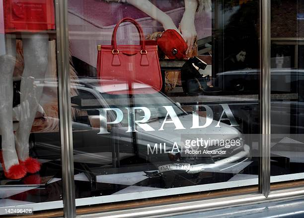 A window display in a Prada women's clothing shop in Aspen Colorado a town known for it's upscale shops