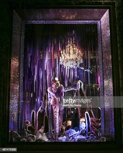 A window display is seen during the Bergdorf Goodman Holiday Window Unveiling in collaboration with Swarovski held at Bergdorf Goodman on November 16...