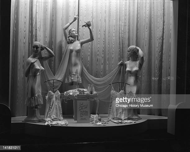 Window Display of corsets at Marshall Field Company Chicago Illinois May 14 1940