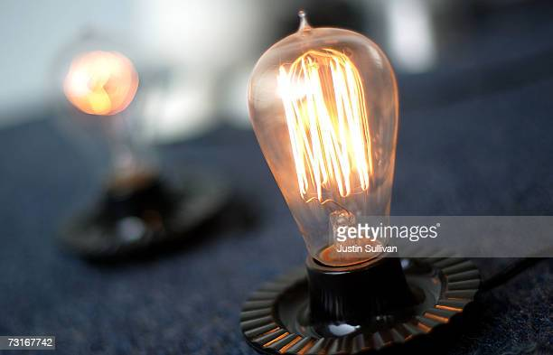 A window display of incandescent light bulbs is seen at the City Lights Light Bulb Store January 31 2007 in San Francisco California California State...