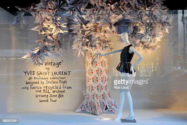 A window display of The Barneys New York Yves Saint Laurent present New Vintage Collection at Barneys New York on June 8 2009 in New York City