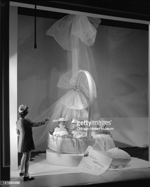 Window Display With Easter Theme at Marshall Field Company Modern Room with a giant Easter basket Chicago Illinois April 7 1944