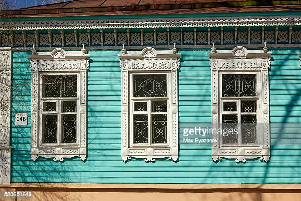 Window frames in the traditional Russian style