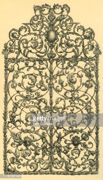 Window grille 17001750 Etching of a wrought iron grille made in Germany earlymid 18th century From The South Kensington Museum a book of engraved...