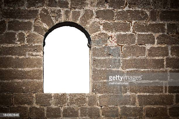 Window in brick wall with clipping path