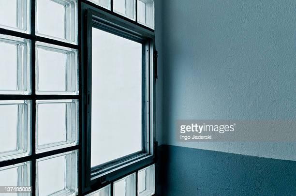 Window in glass brick wall