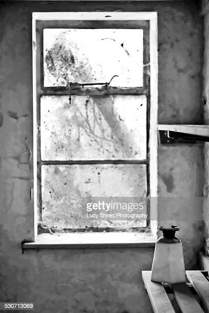 window in pantry of abandoned house. - lucy shires stock pictures, royalty-free photos & images
